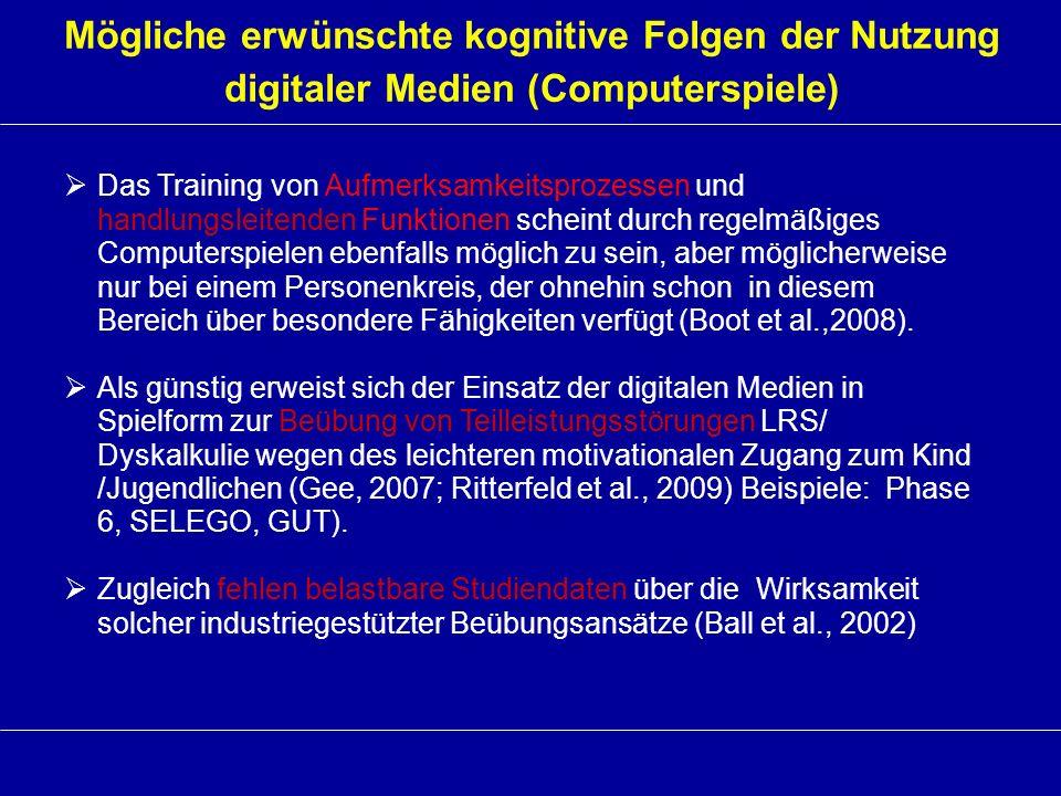 Mögliche erwünschte kognitive Folgen der Nutzung digitaler Medien (Computerspiele) Das Training von Aufmerksamkeitsprozessen und handlungsleitenden Fu