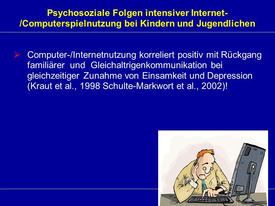 Psychosoziale Folgen intensiver Internet- /Computerspielnutzung bei Kindern und Jugendlichen Computer-/Internetnutzung korreliert positiv mit Rückgang