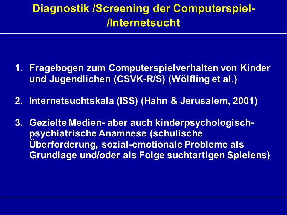 Diagnostik /Screening der Computerspiel- /Internetsucht 1.Fragebogen zum Computerspielverhalten von Kinder und Jugendlichen (CSVK-R/S) (Wölfling et al