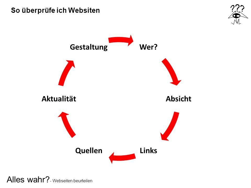 Alles wahr? - Webseiten beurteilen So überprüfe ich Websiten Wer? Absicht LinksQuellen Aktualität Gestaltung