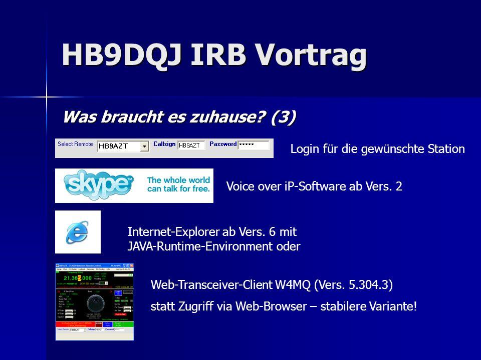 HB9DQJ IRB Vortrag Was braucht es zuhause? (3) Internet-Explorer ab Vers. 6 mit JAVA-Runtime-Environment oder Voice over iP-Software ab Vers. 2 Web-Tr