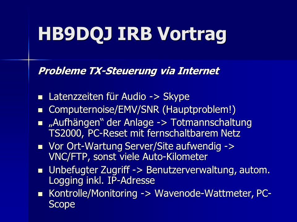 HB9DQJ IRB Vortrag Probleme TX-Steuerung via Internet Latenzzeiten für Audio -> Skype Latenzzeiten für Audio -> Skype Computernoise/EMV/SNR (Hauptprob