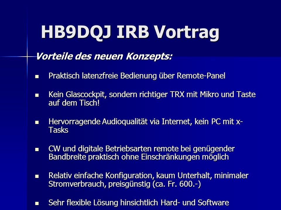 HB9DQJ IRB Vortrag HB9DQJ IRB Vortrag Vorteile des neuen Konzepts: Praktisch latenzfreie Bedienung über Remote-Panel Praktisch latenzfreie Bedienung ü