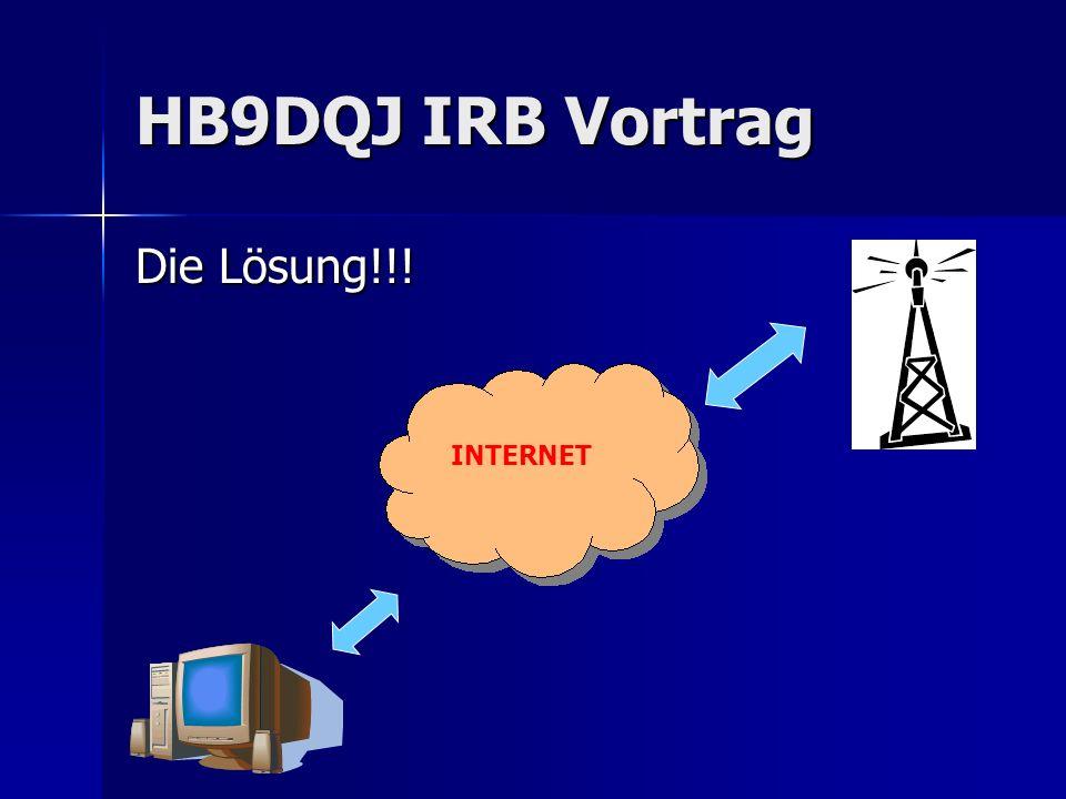 HB9DQJ IRB Vortrag Anforderungen an eine Fernsteuer-Lösung via Internet: Integration Audio-Uebertragung und möglichst alle TRX- Features unterstützt, selber definierbare Befehle für Exoten Integration Audio-Uebertragung und möglichst alle TRX- Features unterstützt, selber definierbare Befehle für Exoten Steuerung Station+Peripherie über beliebige Distanz möglich Steuerung Station+Peripherie über beliebige Distanz möglich - Antennenrotor/Antennenumschaltung - Bandumschaltung PA - Stationsüberwachung Userverwaltung/Zugriffskontrolle Userverwaltung/Zugriffskontrolle 1 Server sollte mehrere Radios steuern können 1 Server sollte mehrere Radios steuern können OP sollte vom gleichen PC 2 Stationen benützen können OP sollte vom gleichen PC 2 Stationen benützen können kurze Latenzzeiten für Voice/Steuerung, Bandbreite <200kBit kurze Latenzzeiten für Voice/Steuerung, Bandbreite <200kBit