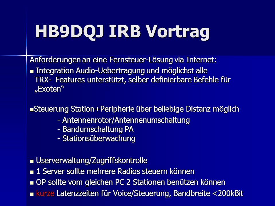 HB9DQJ IRB Vortrag TX-Steuerung mit PC – über Internet – Variante W4MQ INTERNET Client Server Serversoft- ware W4MQ Client-Software W4MQ oder IE Vorteil: kleine Bandbreite, volle Integration Steuerung/Voice/Peripherie, Multi-User-fähig