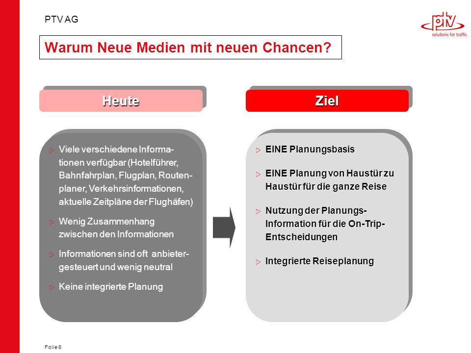 PTV AG Folie 6 Warum Neue Medien mit neuen Chancen? ZielZiel EINE Planungsbasis EINE Planungsbasis EINE Planung von Haustür zu Haustür für die ganze R