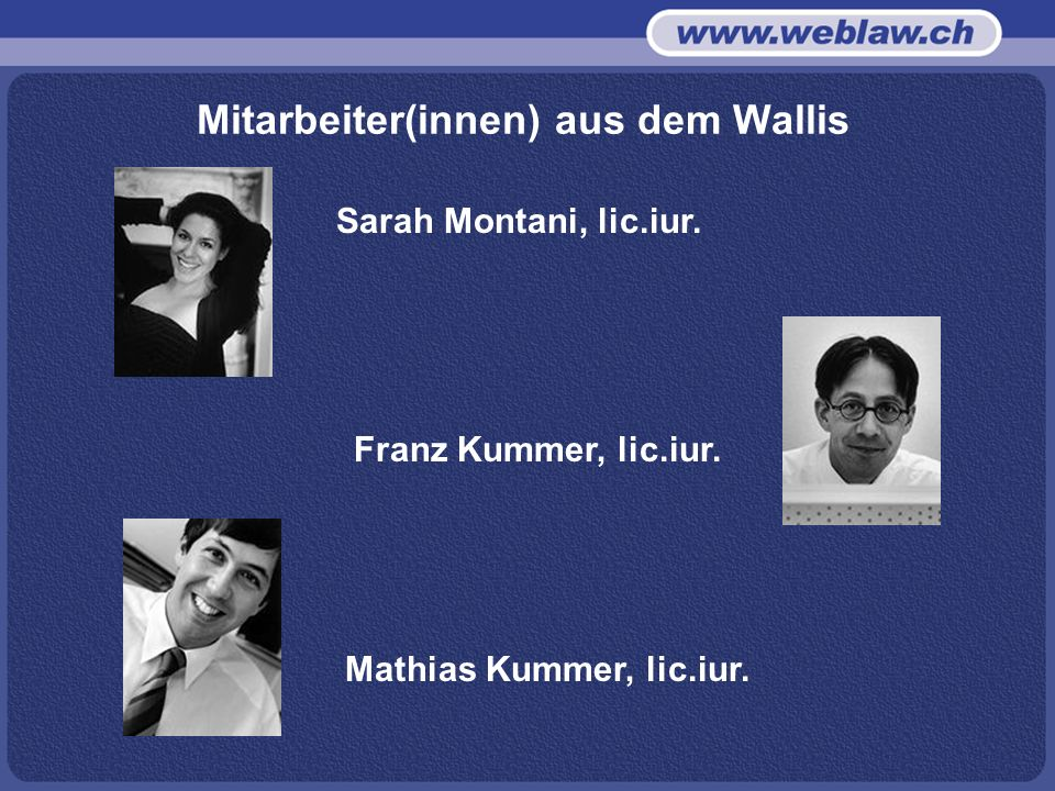 Mitarbeiter(innen) aus dem Wallis Sarah Montani, lic.iur.