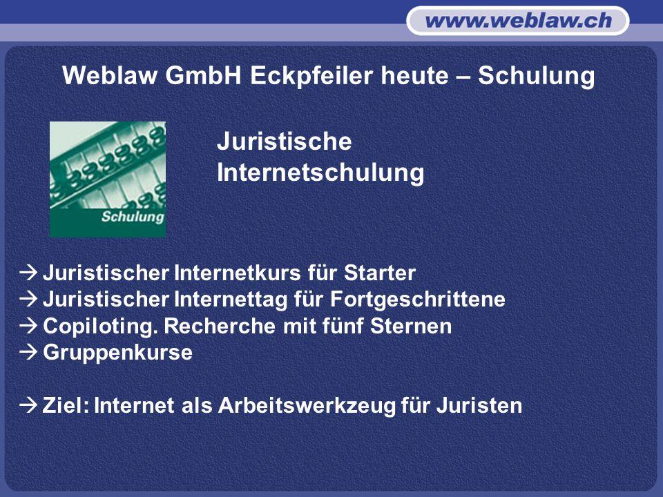 Weblaw GmbH Eckpfeiler heute – Schulung Juristischer Internetkurs für Starter Juristischer Internettag für Fortgeschrittene Copiloting.