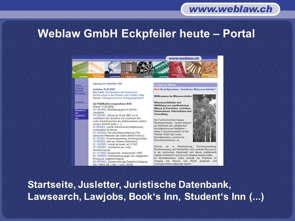 Weblaw GmbH Eckpfeiler heute – Portal Startseite, Jusletter, Juristische Datenbank, Lawsearch, Lawjobs, Books Inn, Students Inn (...)