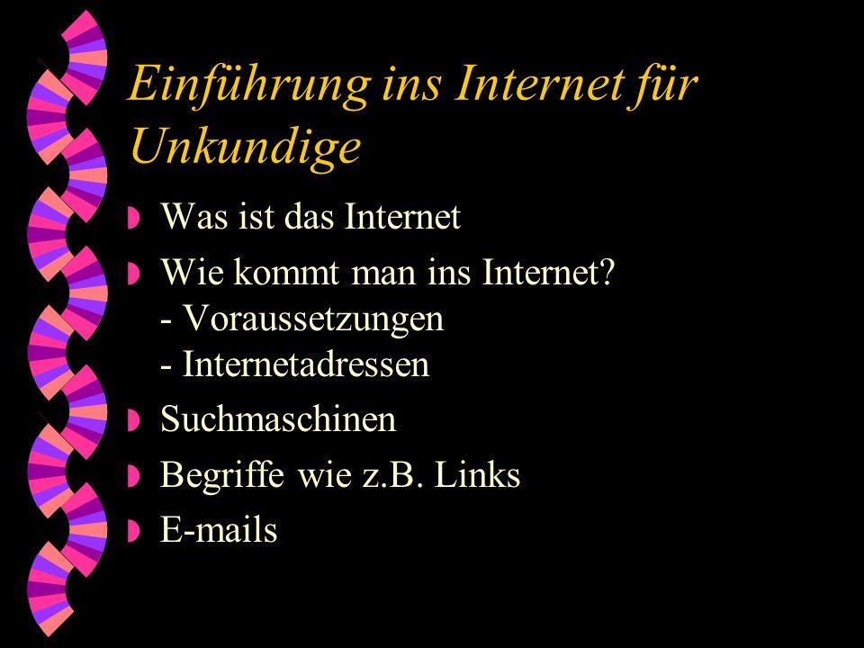 Einführung ins Internet für Unkundige w Was ist das Internet w Wie kommt man ins Internet.