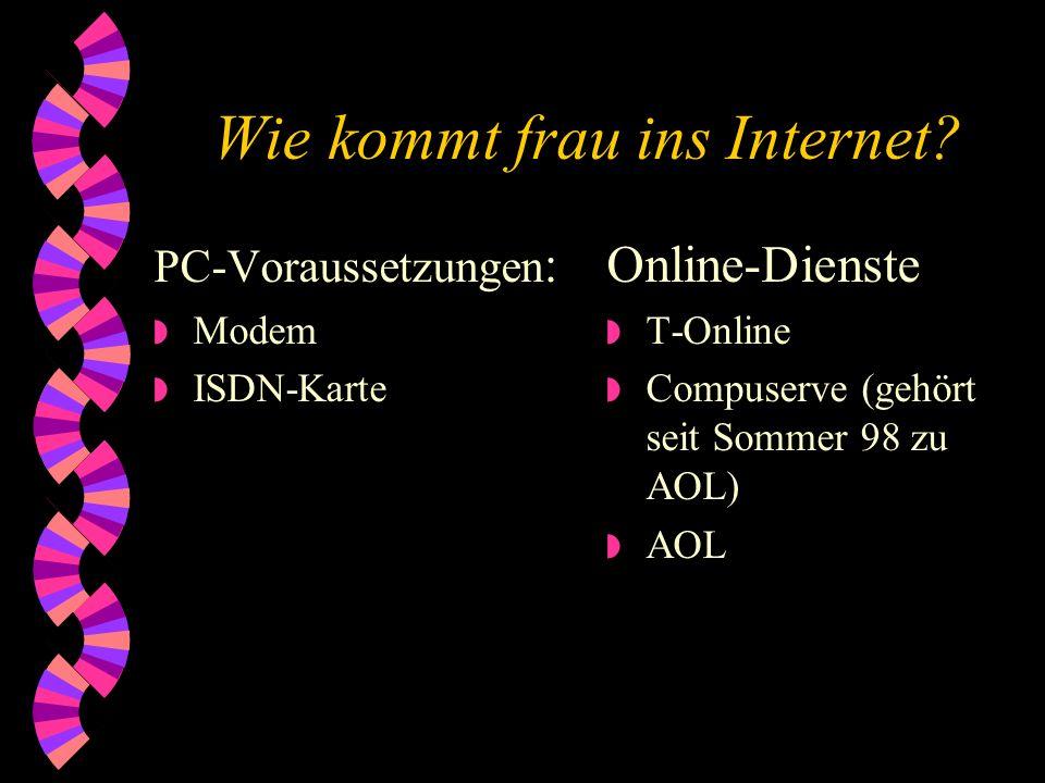 Was ist das Internet? Das Internet umfasst vor allem die folgenden Bereiche: w World Wide Web w E-Mail w Newsgroups w FTP (File Transfer Protocol)