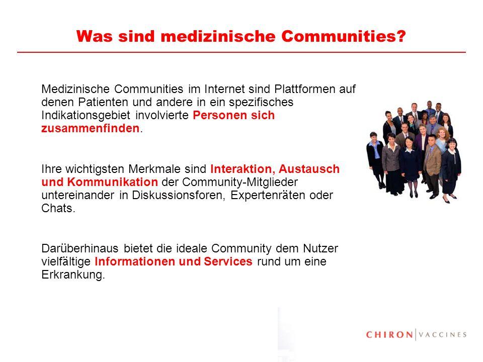15 Was sind medizinische Communities? Medizinische Communities im Internet sind Plattformen auf denen Patienten und andere in ein spezifisches Indikat