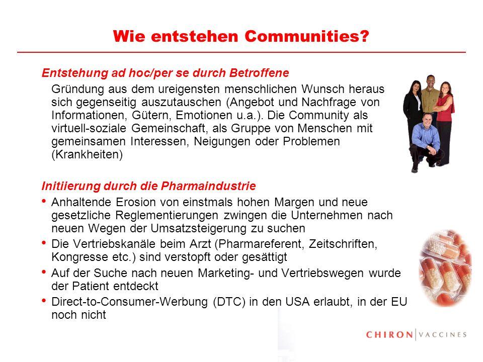 16 Wie entstehen Communities? Entstehung ad hoc/per se durch Betroffene Gründung aus dem ureigensten menschlichen Wunsch heraus sich gegenseitig auszu