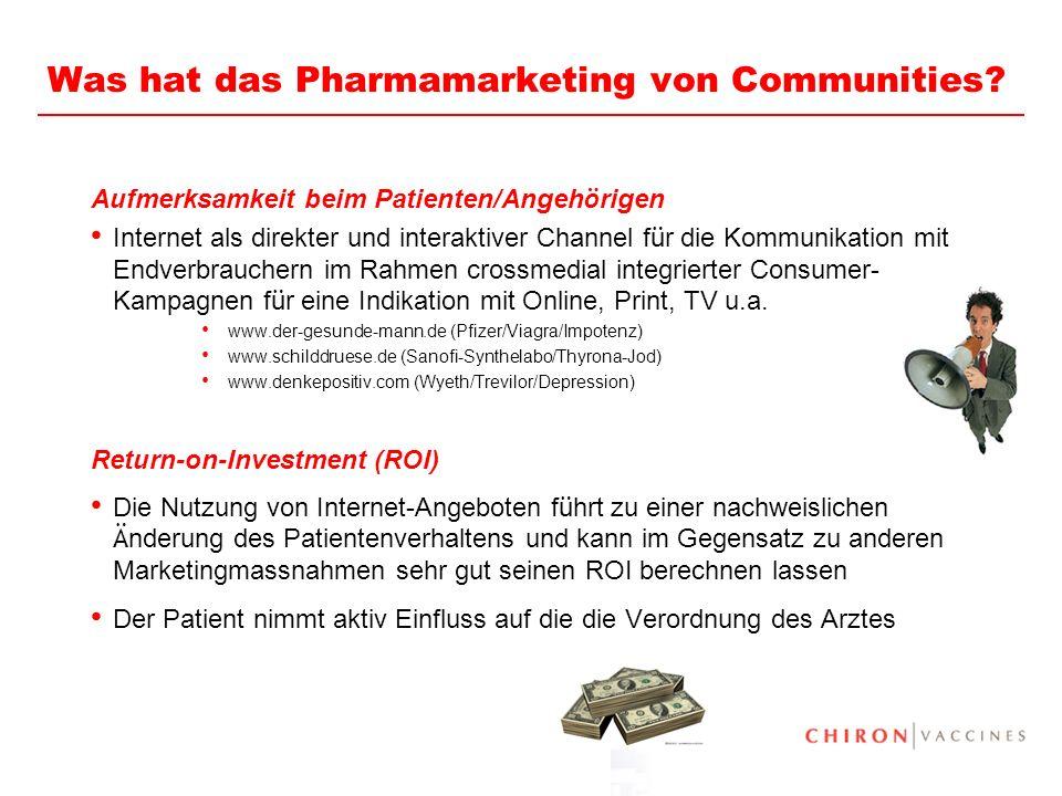 19 Was hat das Pharmamarketing von Communities? Aufmerksamkeit beim Patienten/Angeh ö rigen Internet als direkter und interaktiver Channel f ü r die K