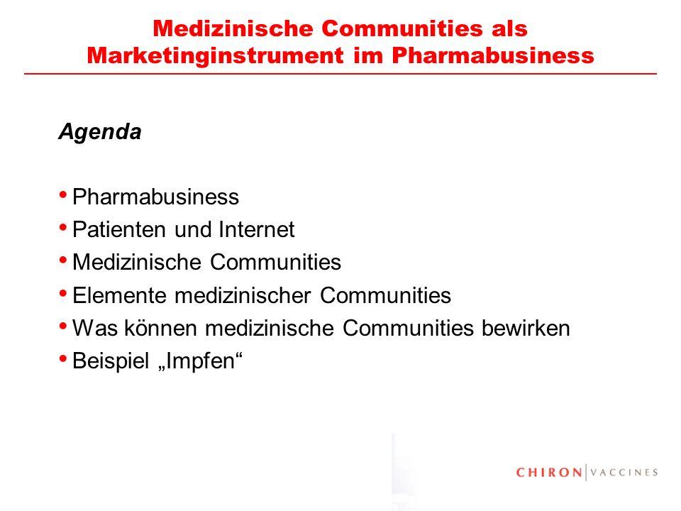 2 Medizinische Communities als Marketinginstrument im Pharmabusiness Agenda Pharmabusiness Patienten und Internet Medizinische Communities Elemente me