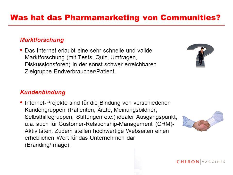 20 Was hat das Pharmamarketing von Communities? Marktforschung Das Internet erlaubt eine sehr schnelle und valide Marktforschung (mit Tests, Quiz, Umf