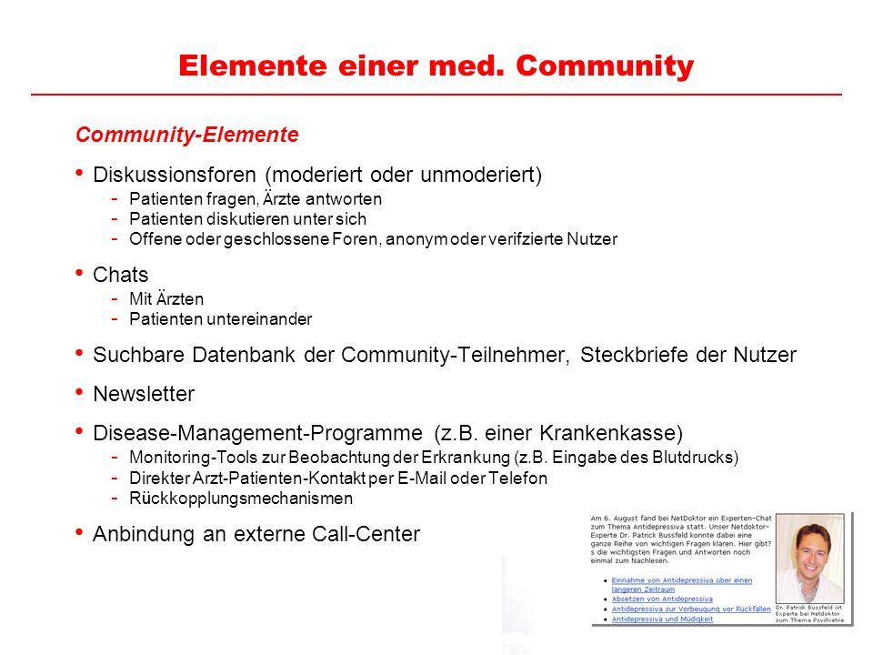 25 Elemente einer med. Community Community-Elemente Diskussionsforen (moderiert oder unmoderiert) - Patienten fragen, Ä rzte antworten - Patienten dis