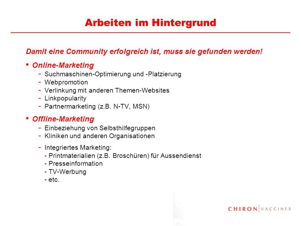 26 Arbeiten im Hintergrund Damit eine Community erfolgreich ist, muss sie gefunden werden! Online-Marketing - Suchmaschinen-Optimierung und – Platzier