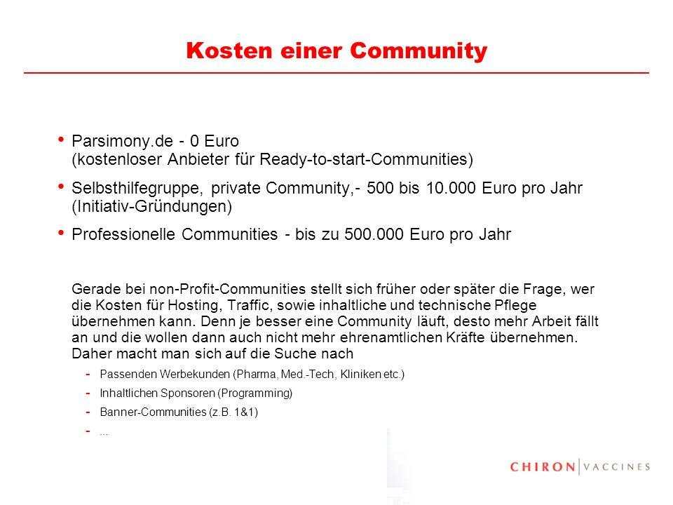 27 Kosten einer Community Parsimony.de – 0 Euro (kostenloser Anbieter f ü r Ready-to-start-Communities) Selbsthilfegruppe, private Community, – 500 bi