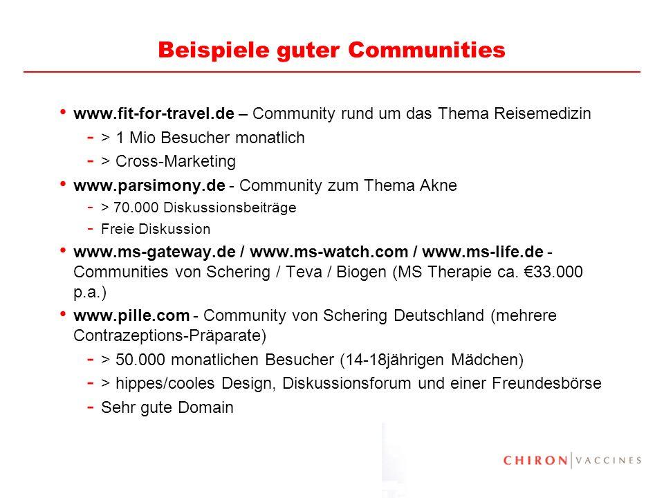 30 Beispiele guter Communities www.fit-for-travel.de – Community rund um das Thema Reisemedizin - > 1 Mio Besucher monatlich - > Cross-Marketing www.p