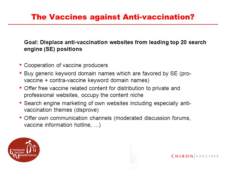 69 The Vaccines against Anti-vaccination? Goal: Displace anti-vaccination websites from leading top 20 search engine (SE) positions Cooperation of vac