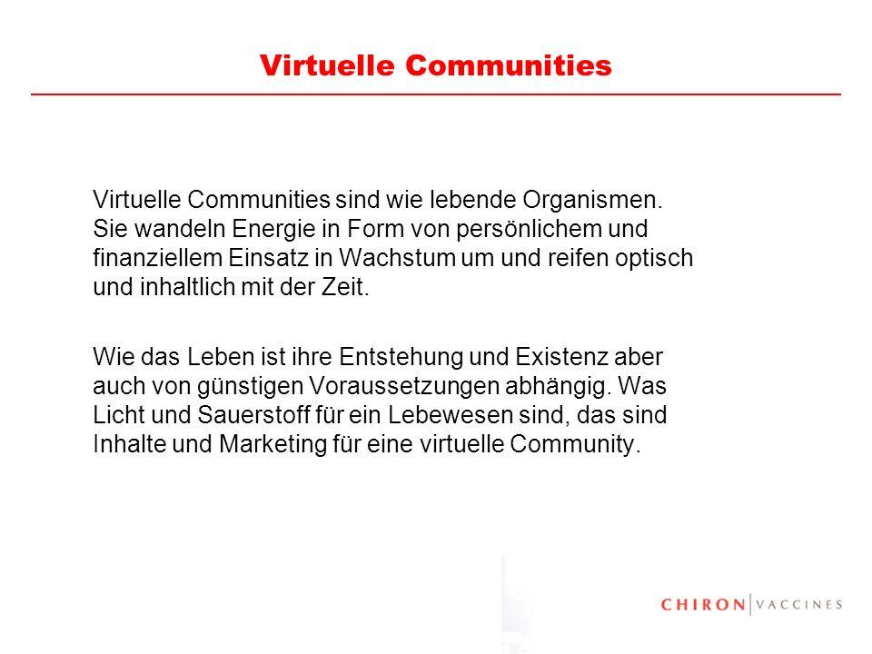 74 Virtuelle Communities Virtuelle Communities sind wie lebende Organismen. Sie wandeln Energie in Form von persönlichem und finanziellem Einsatz in W