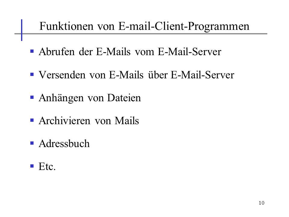 10 Abrufen der E-Mails vom E-Mail-Server Versenden von E-Mails über E-Mail-Server Anhängen von Dateien Archivieren von Mails Adressbuch Etc. Funktione