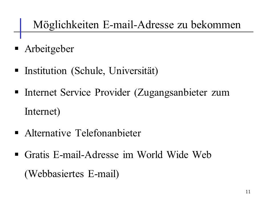 11 Arbeitgeber Institution (Schule, Universität) Internet Service Provider (Zugangsanbieter zum Internet) Alternative Telefonanbieter Gratis E-mail-Ad
