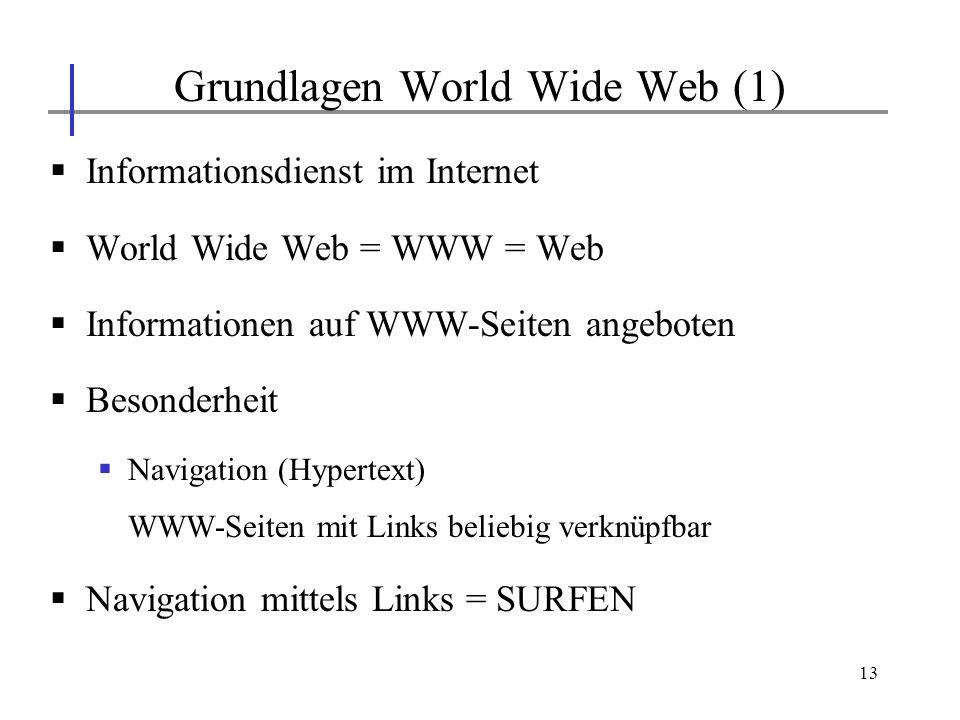 13 Informationsdienst im Internet World Wide Web = WWW = Web Informationen auf WWW-Seiten angeboten Besonderheit Navigation (Hypertext) WWW-Seiten mit