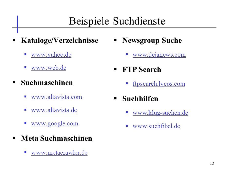 22 Kataloge/Verzeichnisse www.yahoo.de www.web.de Suchmaschinen www.altavista.com www.altavista.de www.google.com Meta Suchmaschinen www.metacrawler.d