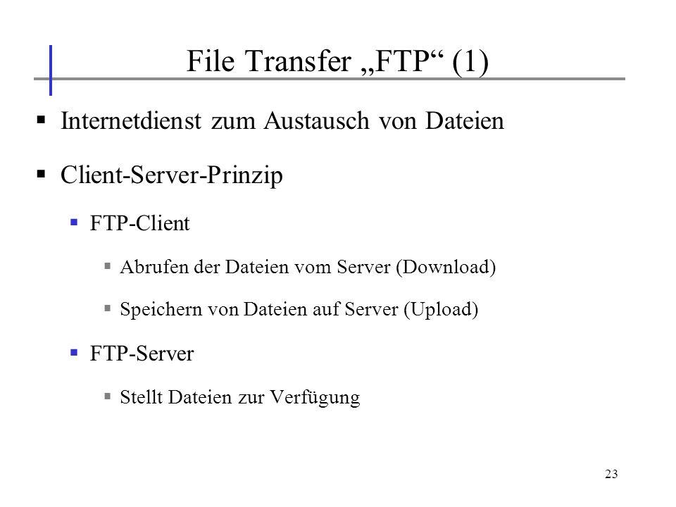 23 Internetdienst zum Austausch von Dateien Client-Server-Prinzip FTP-Client Abrufen der Dateien vom Server (Download) Speichern von Dateien auf Serve