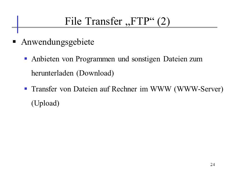 24 Anwendungsgebiete Anbieten von Programmen und sonstigen Dateien zum herunterladen (Download) Transfer von Dateien auf Rechner im WWW (WWW-Server) (