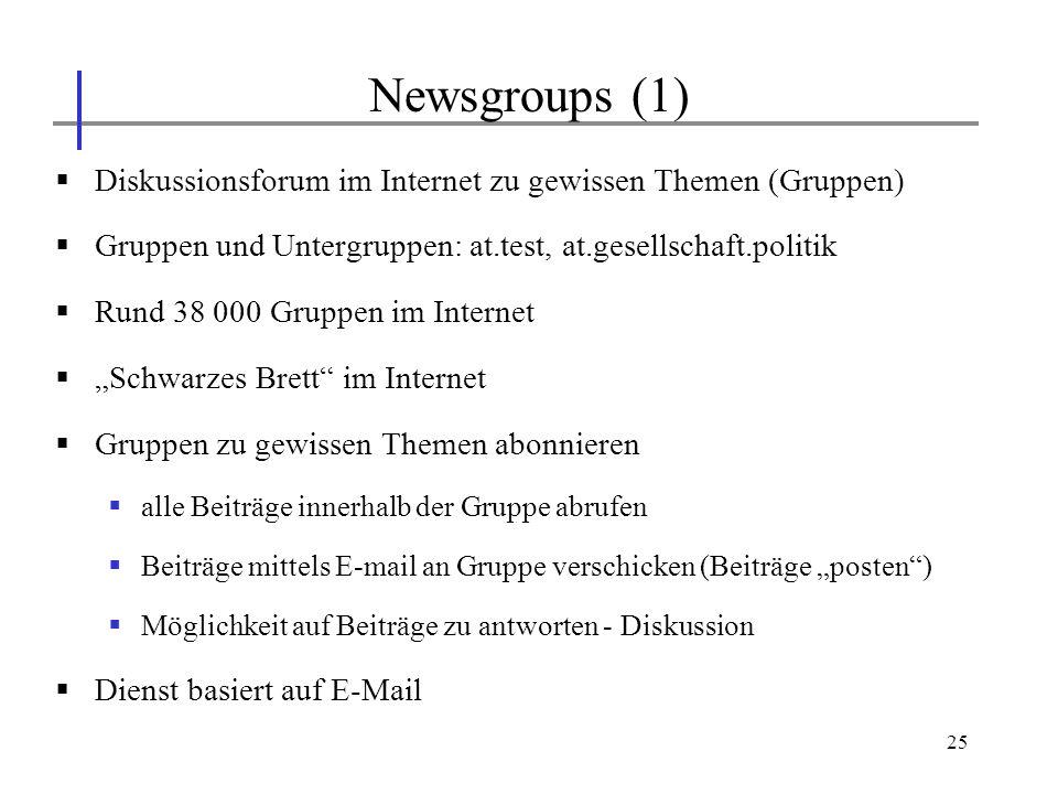 25 Diskussionsforum im Internet zu gewissen Themen (Gruppen) Gruppen und Untergruppen: at.test, at.gesellschaft.politik Rund 38 000 Gruppen im Interne