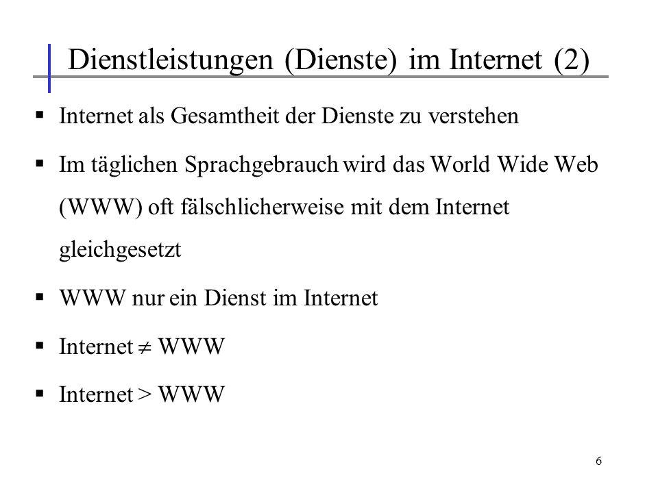 6 Internet als Gesamtheit der Dienste zu verstehen Im täglichen Sprachgebrauch wird das World Wide Web (WWW) oft fälschlicherweise mit dem Internet gl