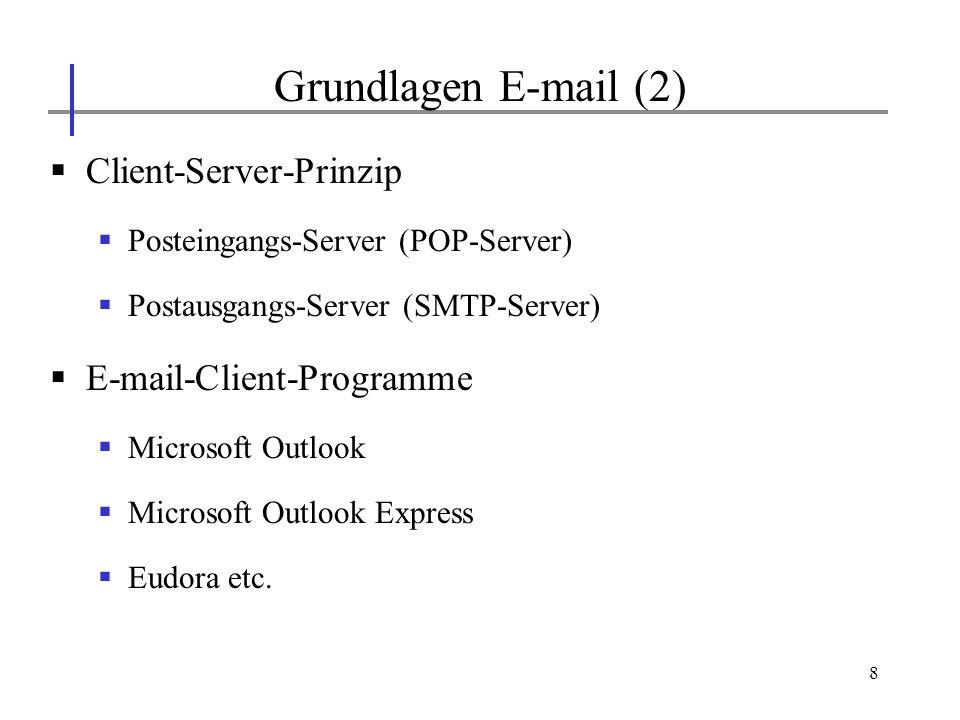 19 Suchdienste im WWW (1) Aufgabe von Suchdiensten Inhalt von WWW-Servern (bzw.