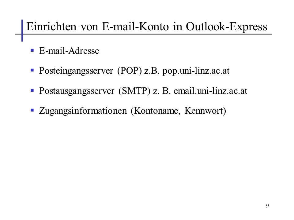 10 Abrufen der E-Mails vom E-Mail-Server Versenden von E-Mails über E-Mail-Server Anhängen von Dateien Archivieren von Mails Adressbuch Etc.
