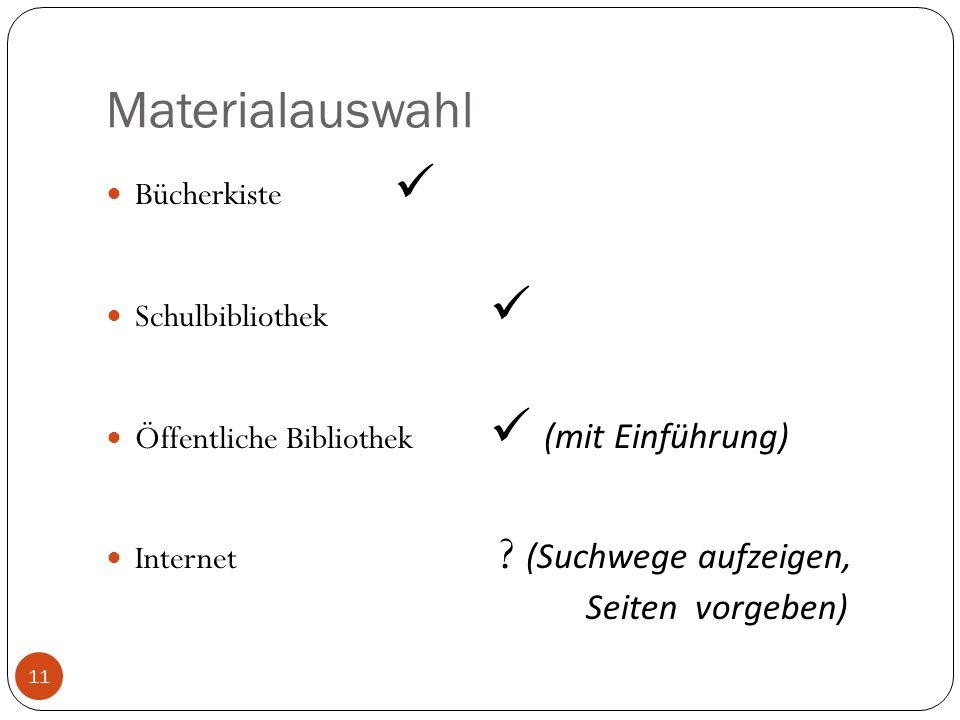 Materialauswahl Bücherkiste Schulbibliothek Öffentliche Bibliothek (mit Einführung) Internet ? (Suchwege aufzeigen, Seiten vorgeben) 11