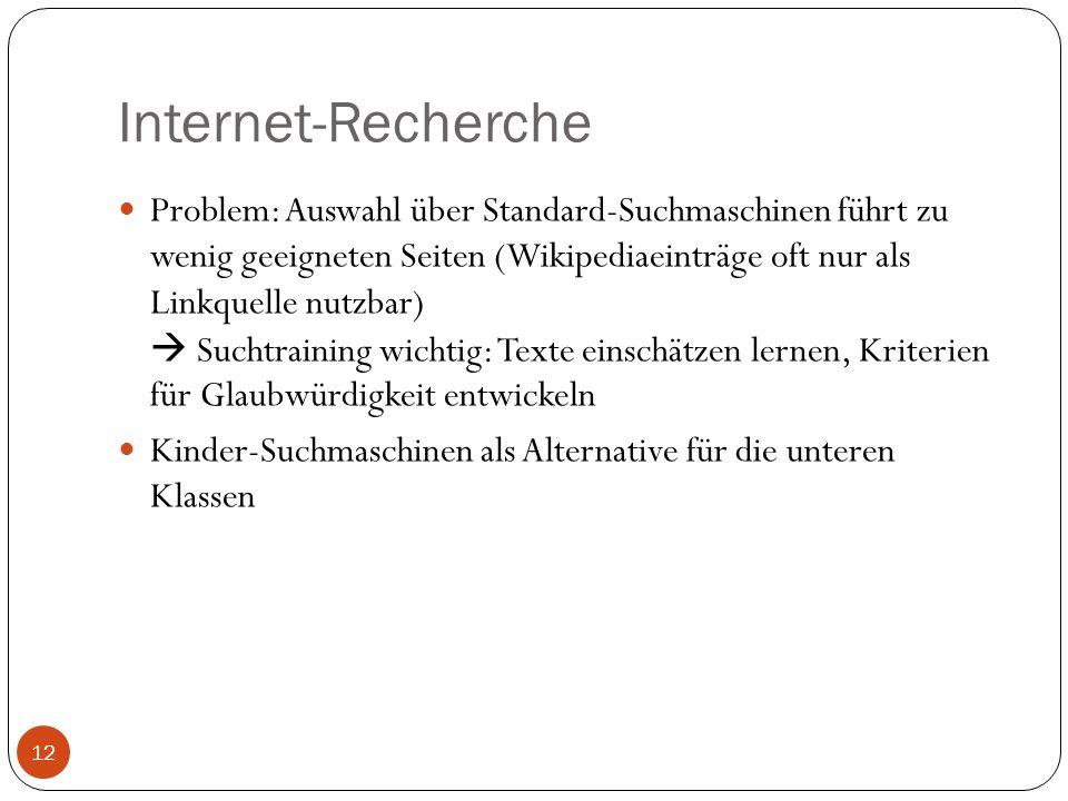 Internet-Recherche Problem: Auswahl über Standard-Suchmaschinen führt zu wenig geeigneten Seiten (Wikipediaeinträge oft nur als Linkquelle nutzbar) Su