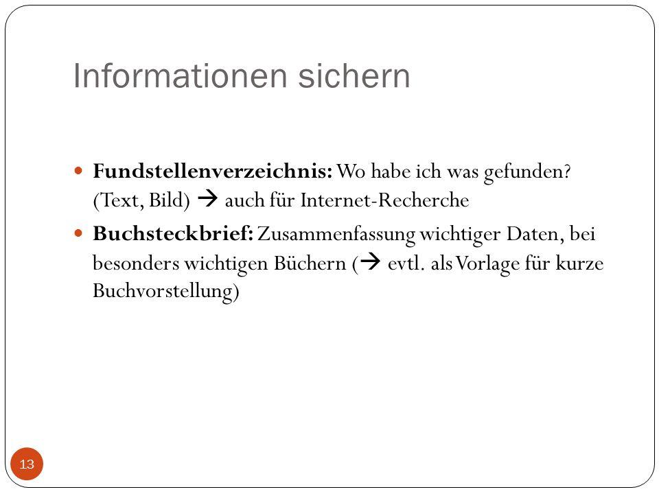 Informationen sichern Fundstellenverzeichnis: Wo habe ich was gefunden? (Text, Bild) auch für Internet-Recherche Buchsteckbrief: Zusammenfassung wicht