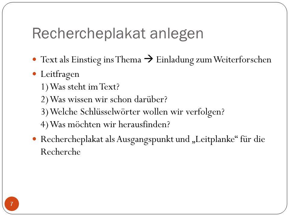 Rechercheplakat anlegen Text als Einstieg ins Thema Einladung zum Weiterforschen Leitfragen 1) Was steht im Text? 2) Was wissen wir schon darüber? 3)