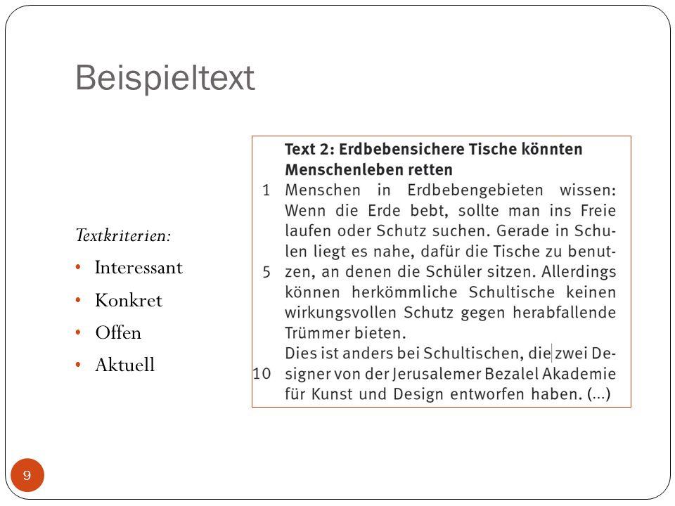 Beispieltext Textkriterien: Interessant Konkret Offen Aktuell 9