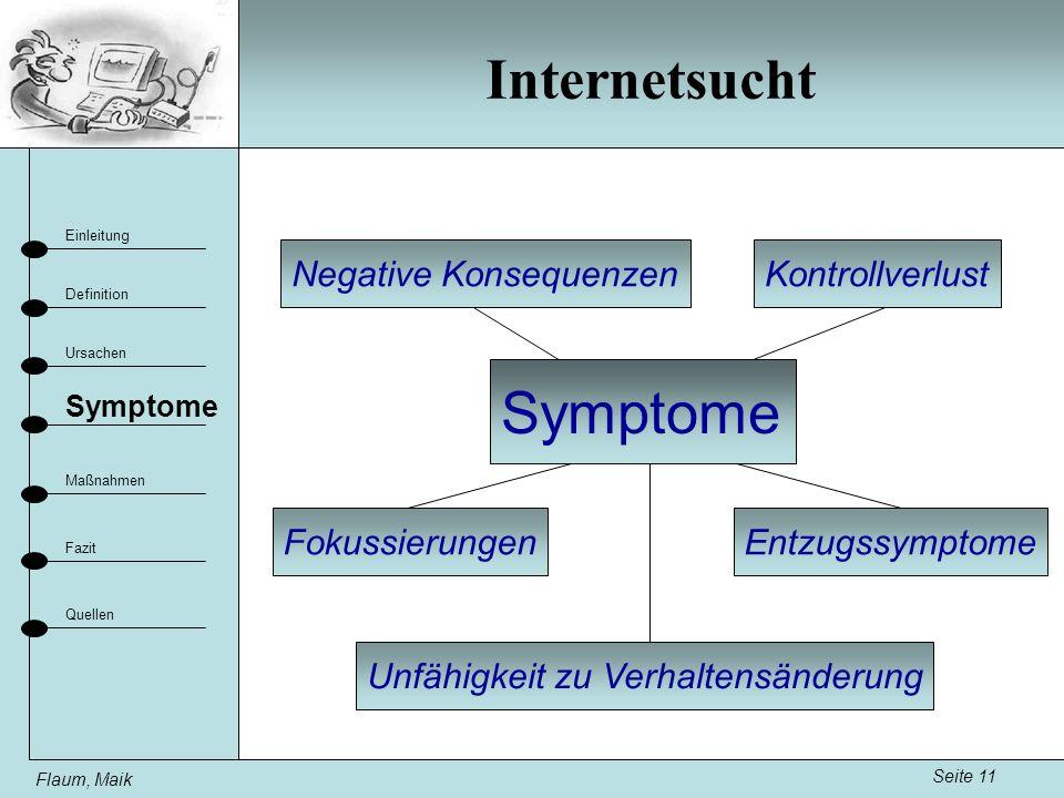 Internetsucht Seite 11 Einleitung Definition Ursachen Fazit Maßnahmen Flaum, Maik Symptome Quellen Fokussierungen KontrollverlustNegative Konsequenzen Entzugssymptome Unfähigkeit zu Verhaltensänderung Symptome