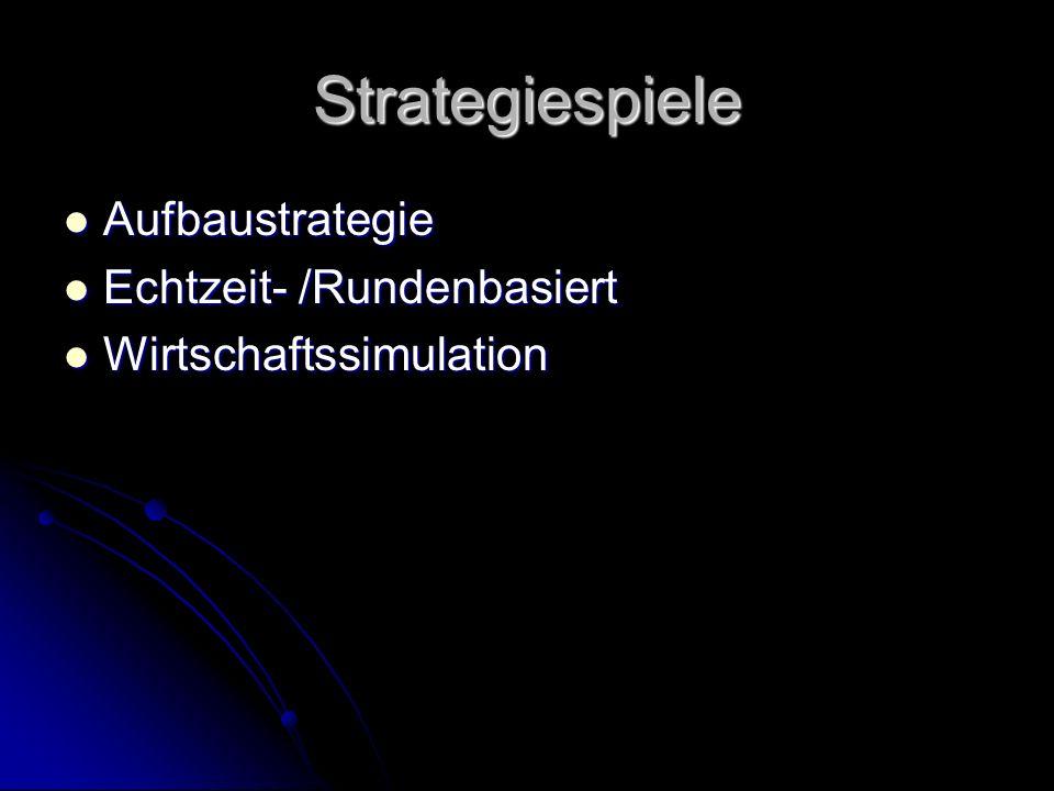 Strategiespiele Aufbaustrategie Aufbaustrategie Echtzeit- /Rundenbasiert Echtzeit- /Rundenbasiert Wirtschaftssimulation Wirtschaftssimulation