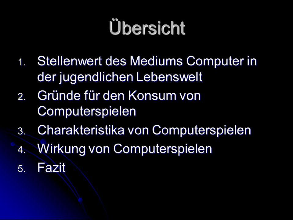 Übersicht 1. Stellenwert des Mediums Computer in der jugendlichen Lebenswelt 2. Gründe für den Konsum von Computerspielen 3. Charakteristika von Compu