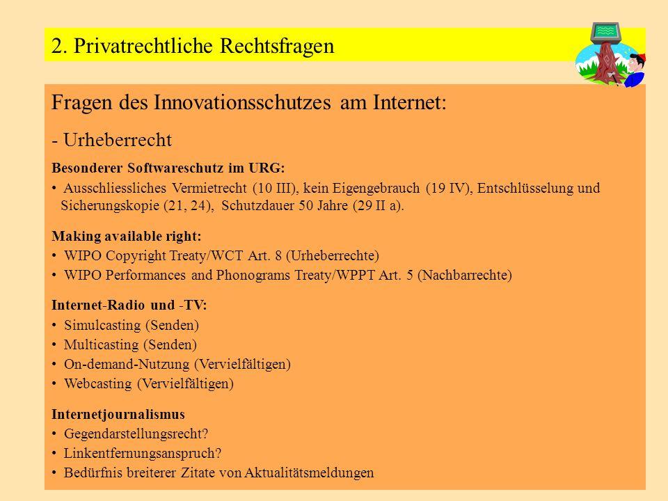 Fragen des Innovationsschutzes am Internet: - Urheberrecht Besonderer Softwareschutz im URG: Ausschliessliches Vermietrecht (10 III), kein Eigengebrauch (19 IV), Entschlüsselung und Sicherungskopie (21, 24), Schutzdauer 50 Jahre (29 II a).