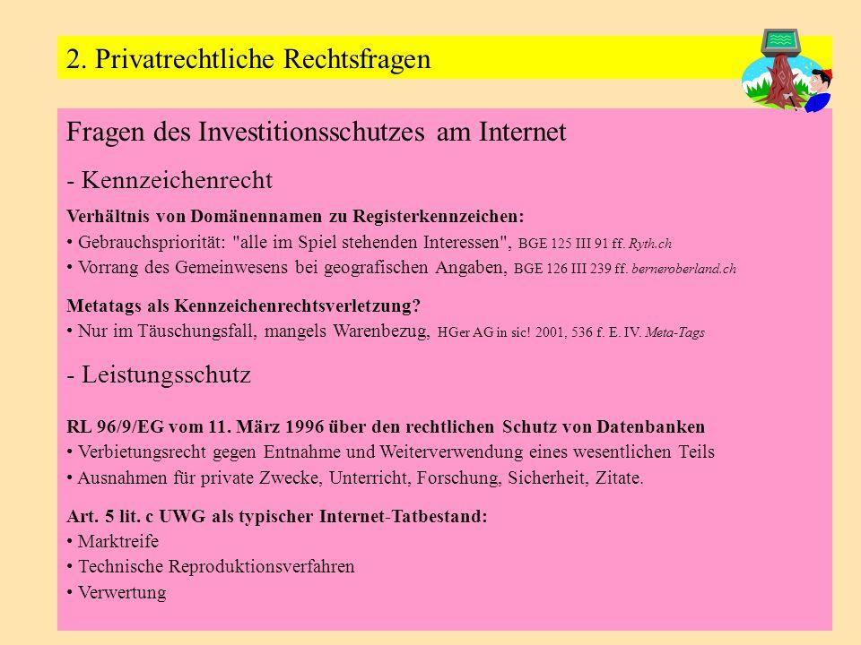 Fragen des Investitionsschutzes am Internet - Kennzeichenrecht Verhältnis von Domänennamen zu Registerkennzeichen: Gebrauchspriorität: