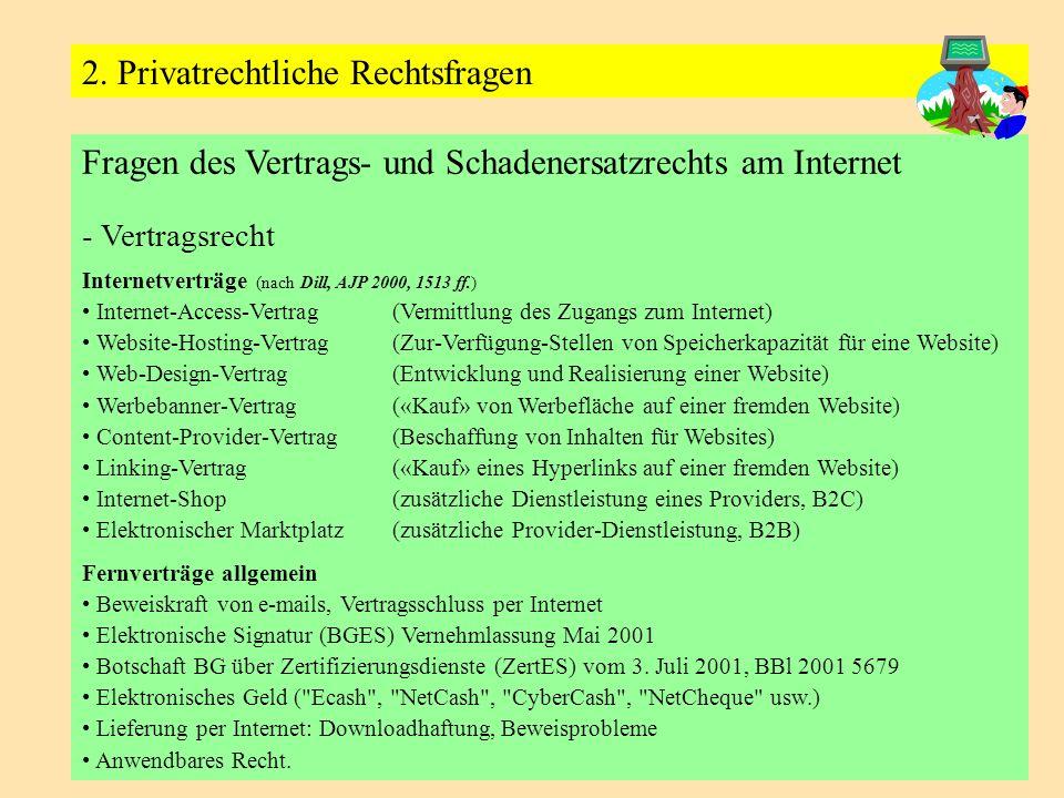 Fragen des Vertrags- und Schadenersatzrechts am Internet - Vertragsrecht Internetverträge (nach Dill, AJP 2000, 1513 ff.) Internet-Access-Vertrag (Vermittlung des Zugangs zum Internet) Website-Hosting-Vertrag (Zur-Verfügung-Stellen von Speicherkapazität für eine Website) Web-Design-Vertrag (Entwicklung und Realisierung einer Website) Werbebanner-Vertrag («Kauf» von Werbefläche auf einer fremden Website) Content-Provider-Vertrag (Beschaffung von Inhalten für Websites) Linking-Vertrag («Kauf» eines Hyperlinks auf einer fremden Website) Internet-Shop(zusätzliche Dienstleistung eines Providers, B2C) Elektronischer Marktplatz (zusätzliche Provider-Dienstleistung, B2B) Fernverträge allgemein Beweiskraft von e-mails, Vertragsschluss per Internet Elektronische Signatur (BGES) Vernehmlassung Mai 2001 Botschaft BG über Zertifizierungsdienste (ZertES) vom 3.