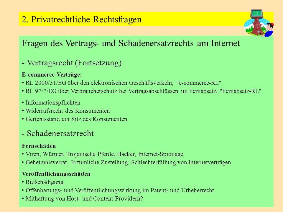 Fragen des Vertrags- und Schadenersatzrechts am Internet - Vertragsrecht (Fortsetzung) E-commerce-Verträge: RL 2000/31/EG über den elektronischen Gesc