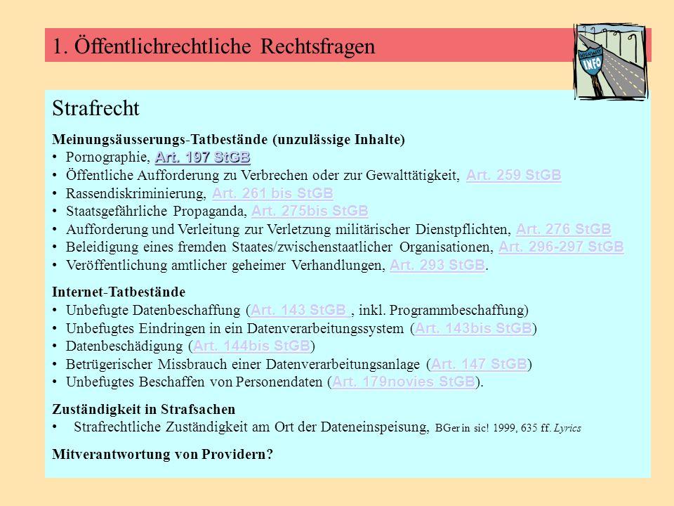 1. Öffentlichrechtliche Rechtsfragen Strafrecht Meinungsäusserungs-Tatbestände (unzulässige Inhalte) Art. 197 StGB Art. 197 StGBPornographie, Art. 197