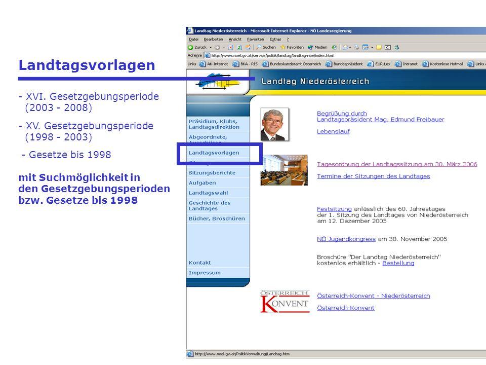 Landtagsvorlagen - XVI. Gesetzgebungsperiode (2003 - 2008) - XV.